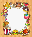 composition surrounded by colorful food icons
