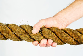 hand gripping rope