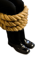 legs tied with rope