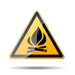 Señal peligro amarilla simbolo fuego
