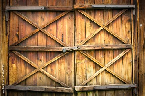 Wooden door with four crosses