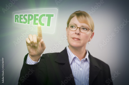 Woman Pushing Respect Button on Interactive Touch Screen