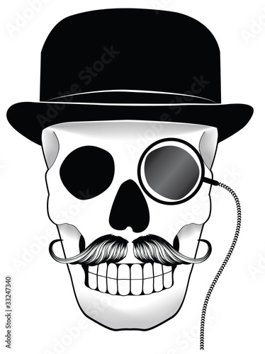 Illustration of a skull with hat mustache and monocle