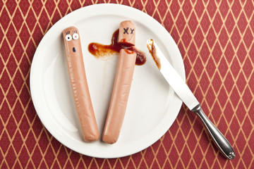 funny picture of murdered hotdog