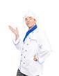 Koch zeigt auf Textfreiraum