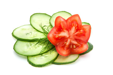 beautifully sliced tomato and cucumber