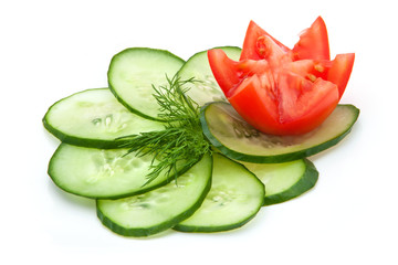 tomato and cucumber slices