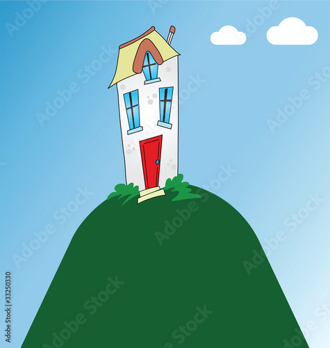 Residential home perched on top of a hill
