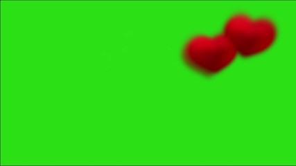 Background with green chroma key: hearts right