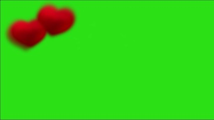 Background with green chroma key: hearts left
