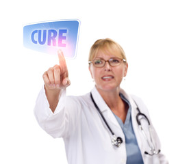 Female Doctor Touching Cure Button on Touch Screen