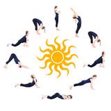 Fototapety Steps of Yoga surya namaskar sun salutation