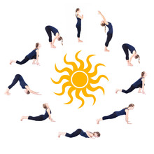 Steg för Yoga surya namaskar sun hälsningsfras