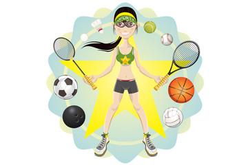 Illustration of Sporty girl athlete exercising sport game