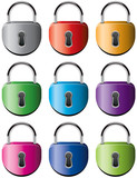vector set of colorful metal padlocks
