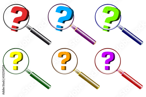 Various question mark and magnifier