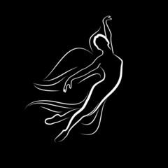 Logo angel flying, classical ballet # Vector