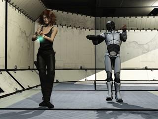 Sci-fi trooper escorts female prisoner