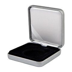 stylish opened leather silver case with black  interior isolated