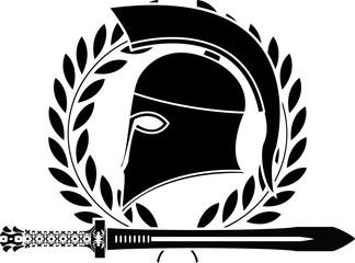fantasy hellenic sword and helmet. stencil