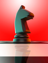 Black horse on chess board