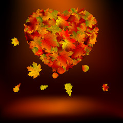 Heart with autumnal leaves. EPS 8