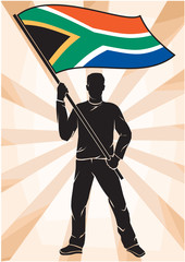 sports fan with flag of South Africa