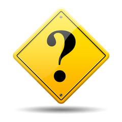 Señal amarilla simbolo interrogacion