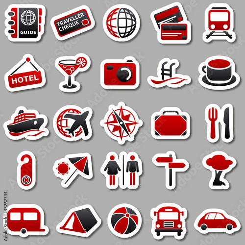 Travel Red Stickers