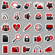 social Media Red Stickers
