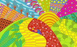 Fototapety Psychedelic garden abstract colorful background