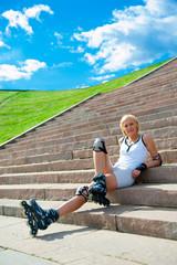 Roller blonde girl resting