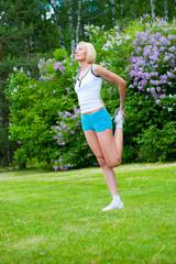 Woman doinng pilates exercises