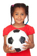 African little girl with a soccer ball