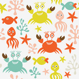 seamless background with marine life poster