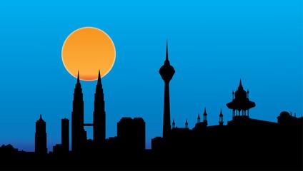 Kuala lumpur skyline night