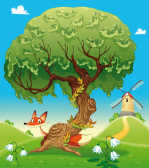 Fox behind the tree. Vector illustration, isolated objects.