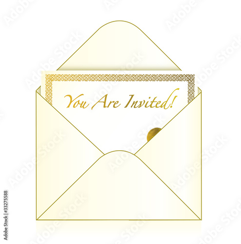 Invitation cart inside an envelope