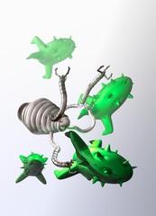 Nano robot destroying human virus