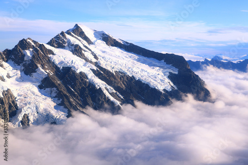Mountain Cook Peak with mist landscape from Helicopter, New Zeal