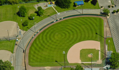 Aerial View of Pattern in Baseball Field