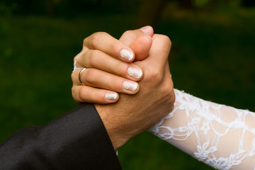 Hands of a groom and  a bride