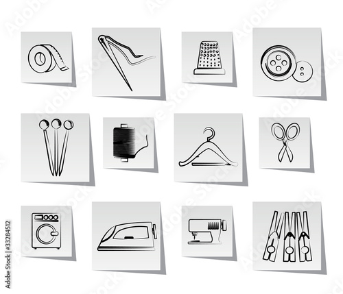 Textile objects and industry   icons - vector icon set