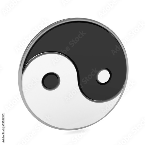 Yin Yang symbol over white background