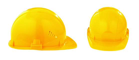 two different views of yellow safety hard hat isolated with clip