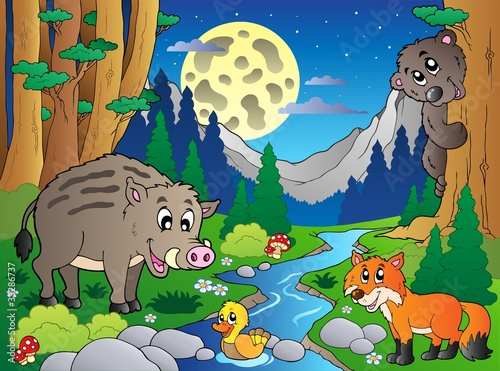 Poster Rivier, meer Forest scene with various animals 4