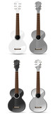 set of gray classical acoustic guitar isolated on white