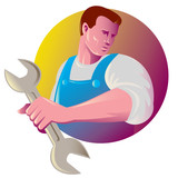 mechanic tradesman worker with spanner poster