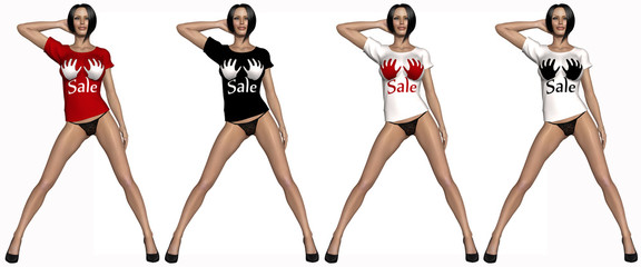 Sexy girl with t-shirt with sale sign