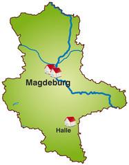 Sachsen-Anhalt Infokarte grün in SVG